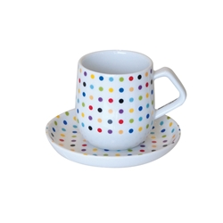STUDIO Espresso Cup and Saucer - Multi Cross