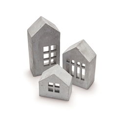 HOUSE Decorative Houses - Set of 3 - Cement