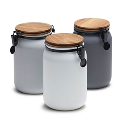 HUDSON Canister - Set of 3 - Charcoal, White, Grey