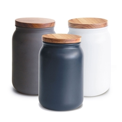 HUDSON Canisters - Set of 3 - Large - Blue, Charcoal, White