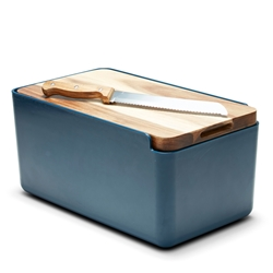 HUDSON Bread Bin with Wooden Cutting Board - Indigo