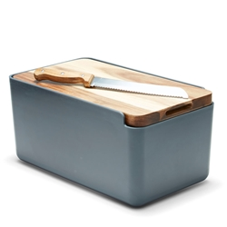 HUDSON Bread Bin with Wooden Cutting Board - Charcoal