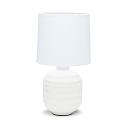KALA Table Lamp - White with Natural Base - 40cm