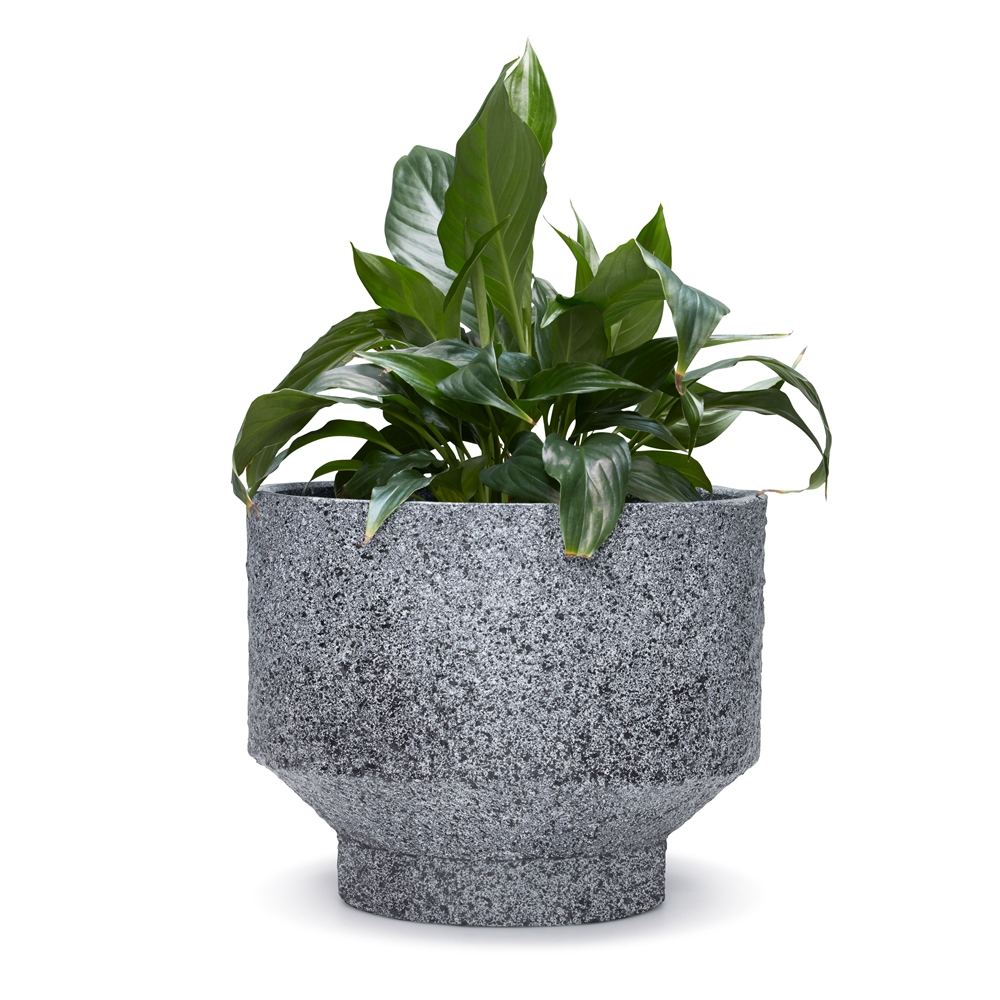 Monolith Planter Black Drawing Flowers: How
