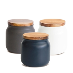 HUDSON Canisters - Set of 3 - Small - Blue, Charcoal, White