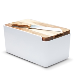 HUDSON Bread Bin with Wooden Cutting Board - White