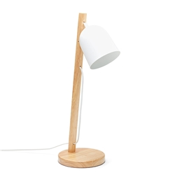 OREGON Table Lamp - White with Wood Base