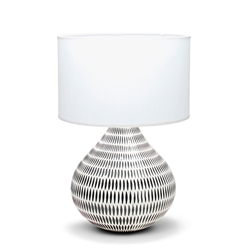 KALA Table Lamp - White with Black Base - 56cm
