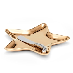 JINGLE Star Plate with Spreader - Gold