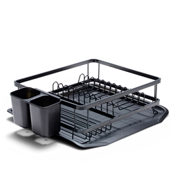 SUBLIME Dish Rack with Tray - 34.5cm - Black