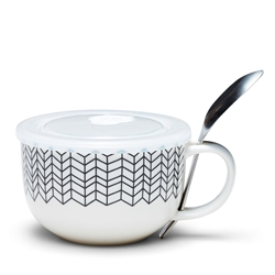 SKETCH Soup Mug - With Spoon - 560ml - Black Chevron