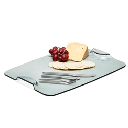 CHEESE Glass Platter - With Cheese Knives
