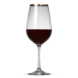 ROMANCE Red Wine Glass - Set of 6 - Gold Rim