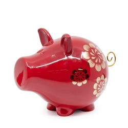 OINK CHARMED Money Box - 23cm - Red