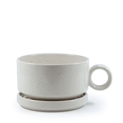 NAOKO Soup Mug with Saucer - 550ml - 12.5cm - Stone