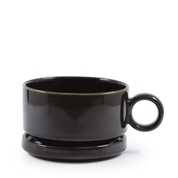 NAOKO Soup Mug with Saucer - 550ml - 12.5cm - Olive