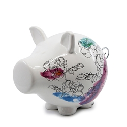 OINK Money Box - 23cm - Floral