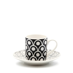 Christopher Vine PEACOCK Espresso Cup and Saucer - 90ml - Black