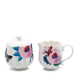 Willow Sugar Bowl & Creamer Set - White