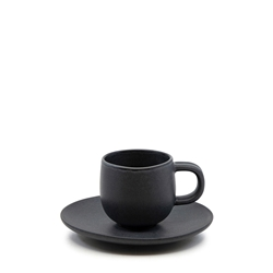 Hue Espresso Cup and Saucer Set - 85ml/12cm - Black