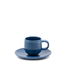 Hue Espresso Cup and Saucer Set - 85ml/12cm - Blue