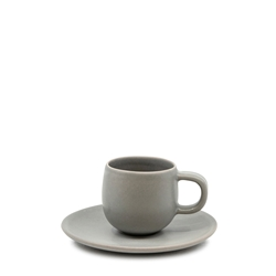 HUE Espresso Cup and Saucer Set - 85ml/12cm - Grey