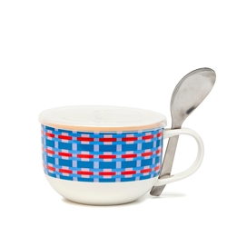 LUNCH2GO Soup Mug with Spoon - 520ml - Pink Wicker