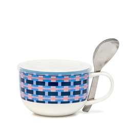 LUNCH2GO Soup Mug with Spoon - 520ml - Blue Wicker