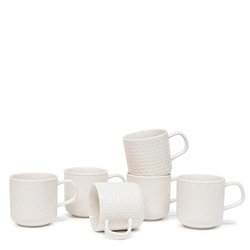 Embossed Mug Set - 6 Piece - 300ml