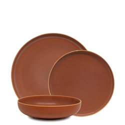Hue Dinner Set - 12 Piece - Rust