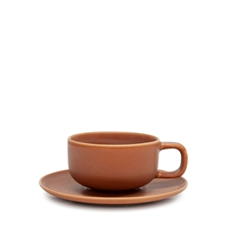 Hue Tea Cup & Saucer - 200ml - Rust