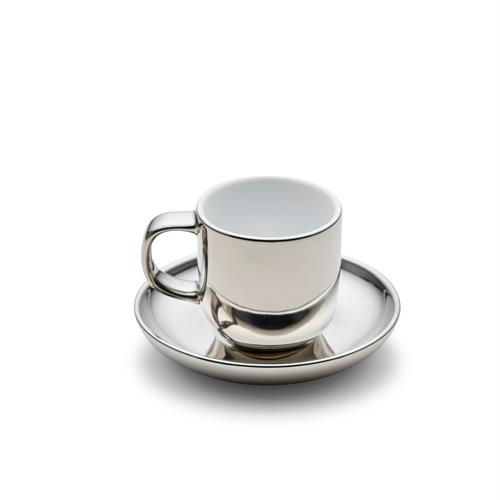 METALLIC Espresso Cup and Saucer - Silver