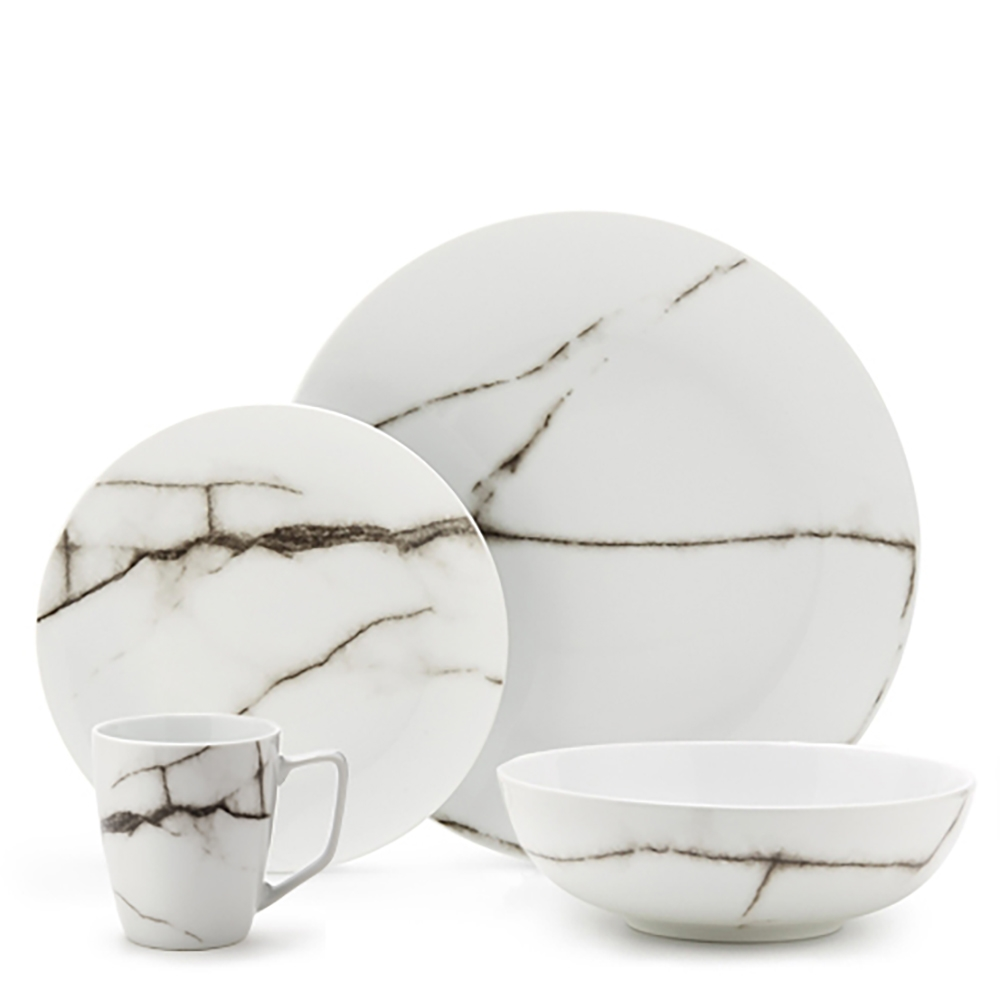 Marble dinner set 16pc salt and pepper salt and pepper for Set de vaisselle costco