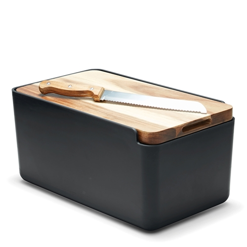 HUDSON Bread Bin - with Cutting Board - Black