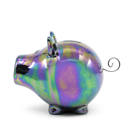 OINK Money Box - 23cm - Oil-Slick Lustre