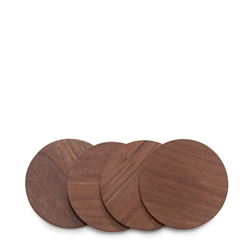 WILLOW Coaster Set - 10cm - Set of 4 - Walnut