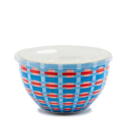 LUNCH2GO Bowl with Lid - 19cm - Blue Wicker