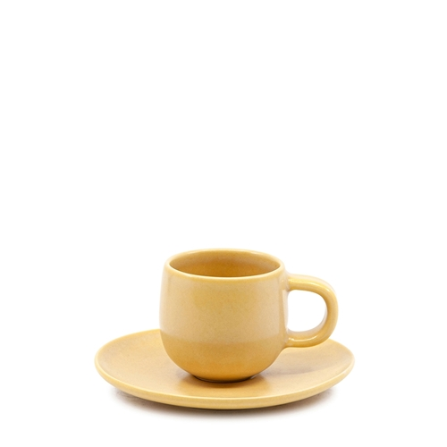HUE Espresso Cup and Saucer Set - 85ml/12cm - Yellow
