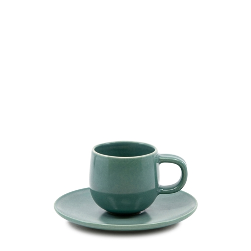 HUE Espresso Cup and Saucer Set - 85ml/12cm - Green