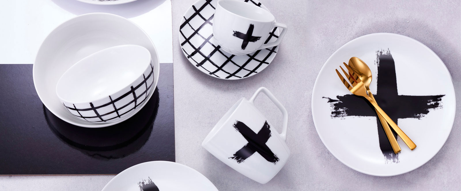 Featuring bold black brush strokes the monochromatic dinnerware has been created to build and layer. Combine with accents of gold HOST cutlery to complete ... & Impress guests with Salt\u0026Peppers PAINT range - Salt and Pepper